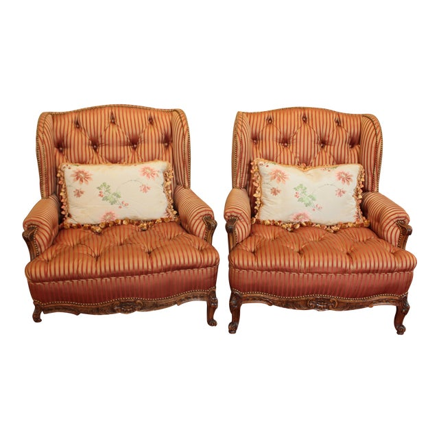 C. 1900 French Louis XV Bergere Chairs - a Pair For Sale