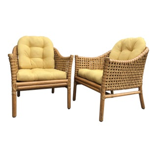 "Late 20th Century McGuire ""Antalya"" Woven Rawhide Leather Rattan Lounge Chairs - a Pair For Sale"