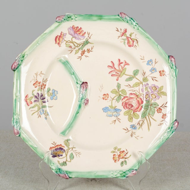 Longchamp French Majolica Asparagus Plates and Serving Set For Sale - Image 11 of 13