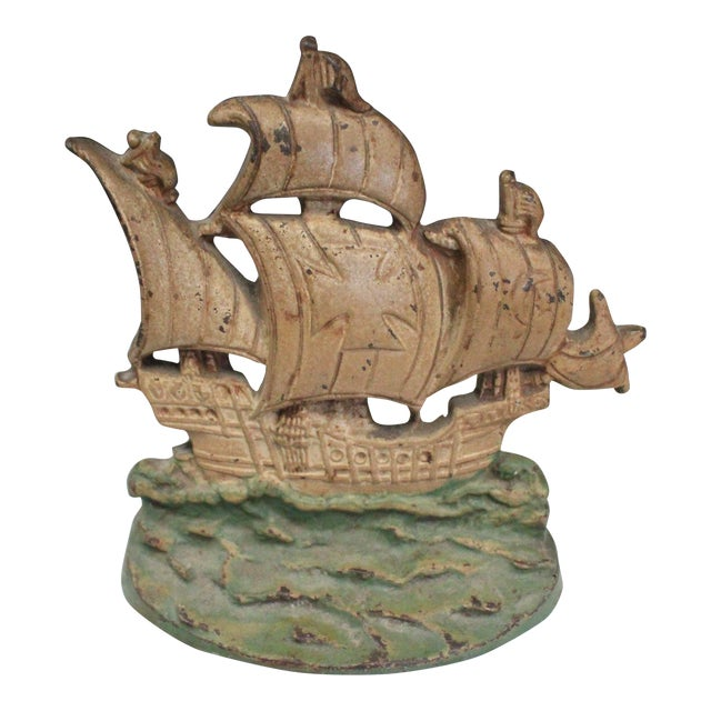 Early 20th Century Vintage Columbus Ship Doorstop For Sale