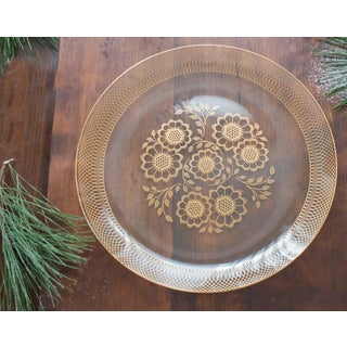 Mid-Century Scandi-Style Glass Platter W/18k Gold Preview