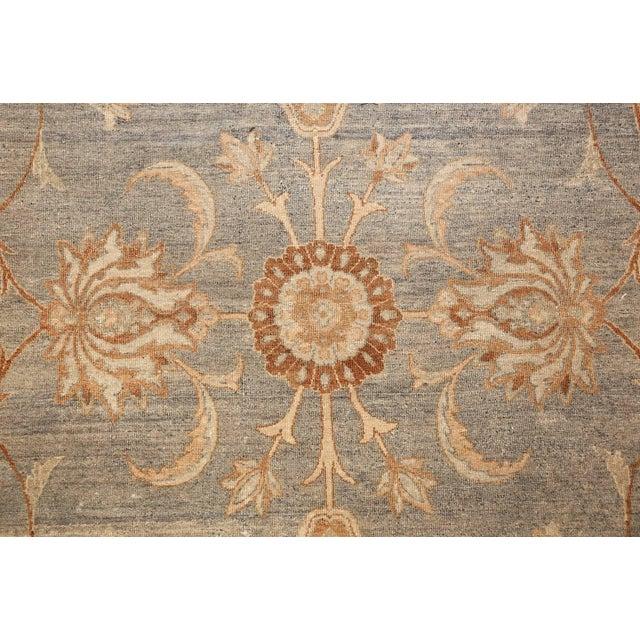 Large Antique Sky Blue Persian Kerman Carpet For Sale - Image 10 of 11