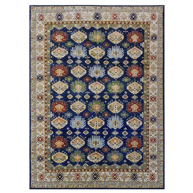 Afghan Kazak Wool Rug - 8'11''x11'9'' For Sale - Image 4 of 4