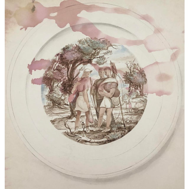 Watercolor Figurative Sporting Watercolor by William Palmer, 1940 For Sale - Image 7 of 7
