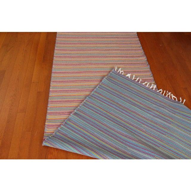 Flat Weave Wool Striped Pink Kilim Rug - 2'8'' x 7'6'' - Image 9 of 9