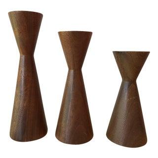 Mid-Century Modern Teak Candle Holders - Set of 3