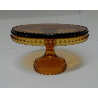 1960s Vintage Le Smith Amber Glass Hobnail Cake Stand Preview