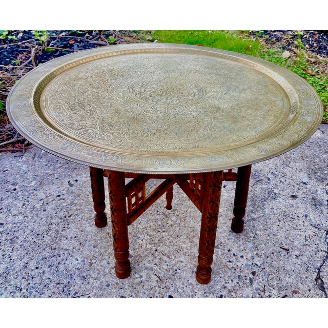 Metal Moorish Chic Moroccan Engraved Brass Tray Table For Sale - Image 7 of 8