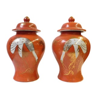 Chinese Orange Cranes Porcelain Temple Jars - Pair