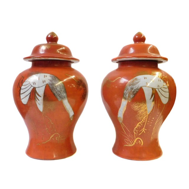Chinese Orange Cranes Porcelain Temple Jars - Pair - Image 1 of 6