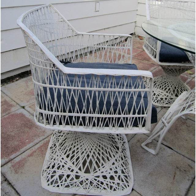 MId Century Modern Russell Woodard Spun Fiberglass Patio Dining Set. This set includes four chairs with blue Sunbrella...
