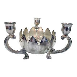 Silver Plate Lotus Candelabra and Flower Holder For Sale