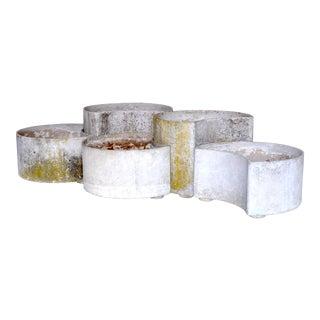 """1970s """"Luna"""" Fiber Concrete Planters - Set of 5 For Sale"""