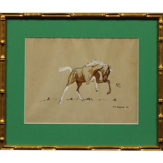 """""""Rearing Colt"""" in Gilt Bamboo Frame For Sale"""