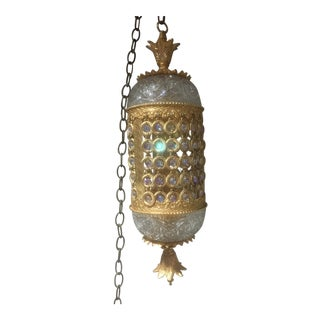 Ornate Brass Swag Lamp by L&L WMC For Sale