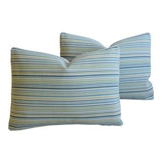 """Cowtan & Tout Ocean Stripe Feather/Down Pillows 23"""" X 17"""" - Pair For Sale"""