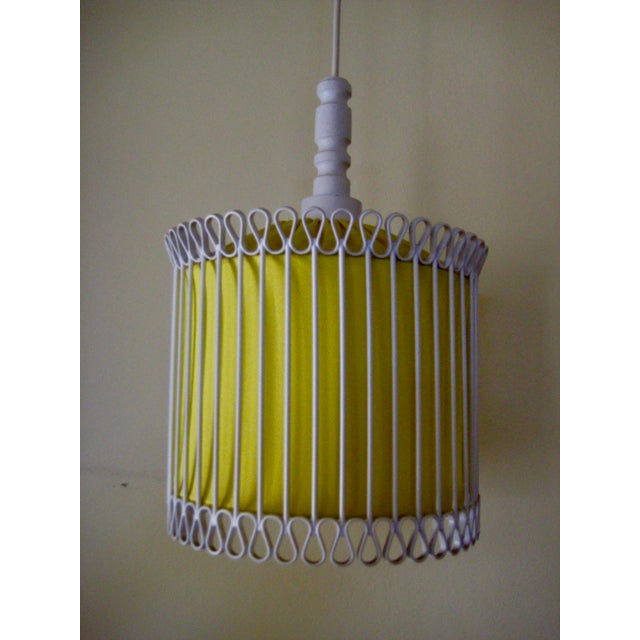 Mid-Century Modern White and Yellow Iron Chandelier For Sale - Image 4 of 11