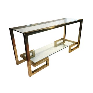"Hollywood Regency Milo Baughman ""Greek Key"" Style Gold Chrome Console For Sale"