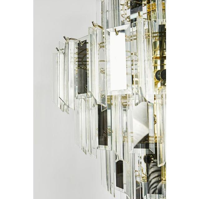 Vintage Italian Waterfall Chandelier With Lucite and Mirrored Prisms For Sale - Image 9 of 13