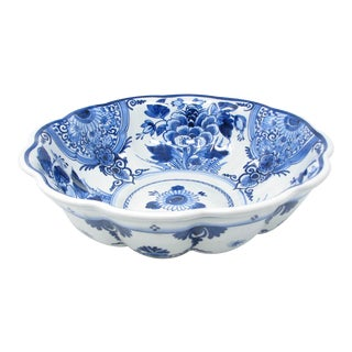 Antique Royal Delft De Porceleyne Fles Large Blue and White Bowl With Floral Design For Sale