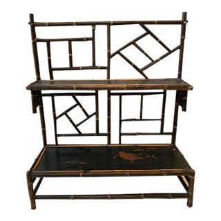 Antique Chinoiserie Bamboo Gilded Wall Shelf For Sale