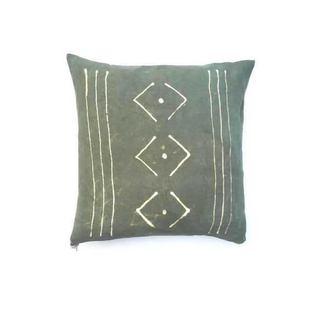 Hand-Dyed Dark Green Tribal Pillow Cover - Image 3 of 7