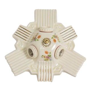 Three Light Art Deco Porcelain Flush Mount Fixture For Sale