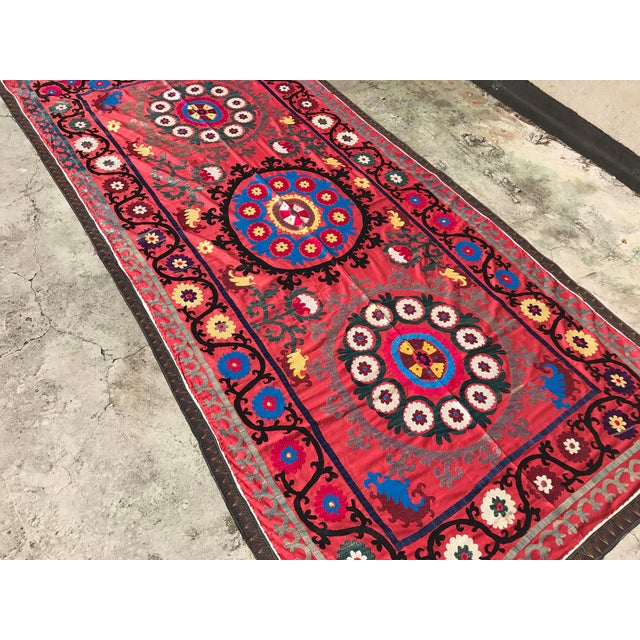 Antique Handmade Suzani Tapestry For Sale - Image 4 of 5