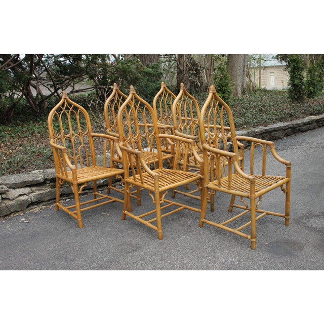Mid-Century Modern 1970s McGuire Style Rattan Bamboo Gothic Cathedral Chairs All Arm Chairs - Set of 2 For Sale - Image 3 of 12