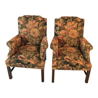 1970s Vintage Drexel Heritage Brocade Chairs- A Pair For Sale
