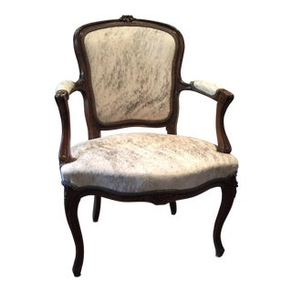 "French Hide Upholstered ""His"" Bergere Chair"