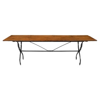 19th Century French Farm Table With Iron Base For Sale