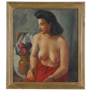Original Vintage Mid 20th Century Seated Female Nude - Oil/Canvas - Signed - Framed For Sale