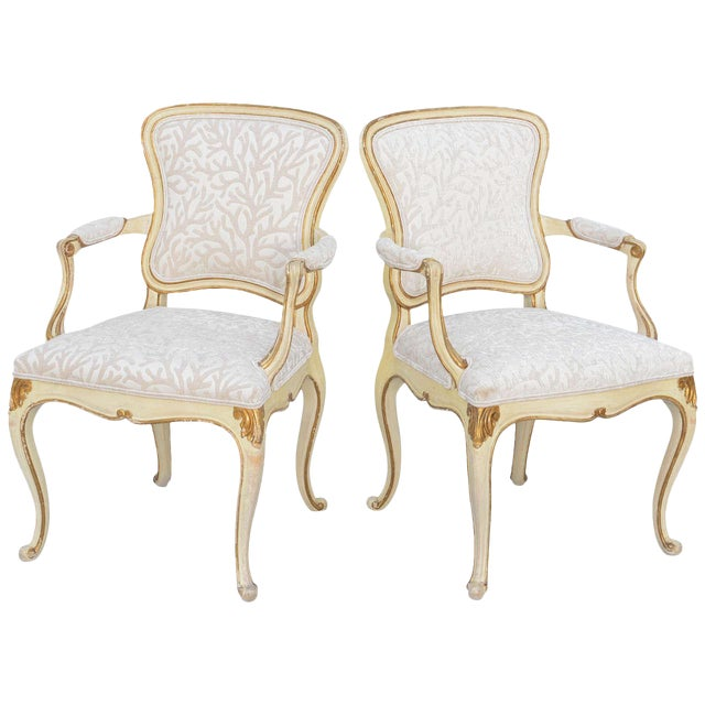 Pair of Painted & Parcel Gilt Armchairs For Sale