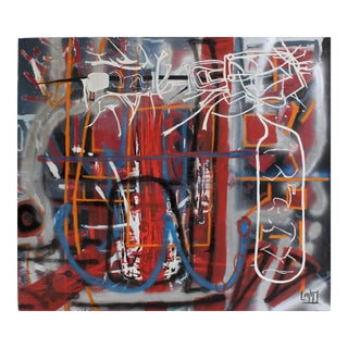 Large Abstract Graffiti Painting by Artist Lionel Lamy For Sale