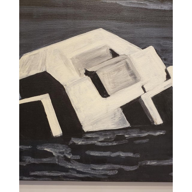 Night painting of an abandoned World War II bunker being reclaimed by the sea by artist Lionel Lamy. Acrylic on canvas....