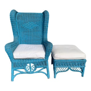 Vintage Polo Ralph Lauren Wicker Chair and Ottoman For Sale