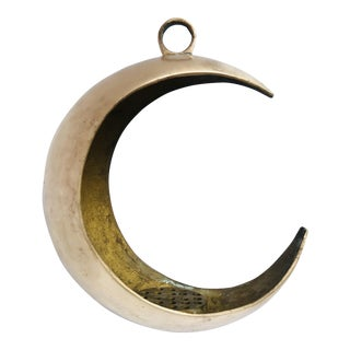 Vintage Hanging Brass Crescent Moon Incense Burner