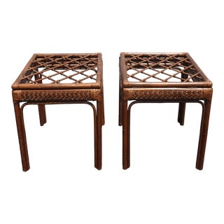 Pair of Vintage Mid Century Modern Rustic Bamboo Rattan Brown End Tables For Sale