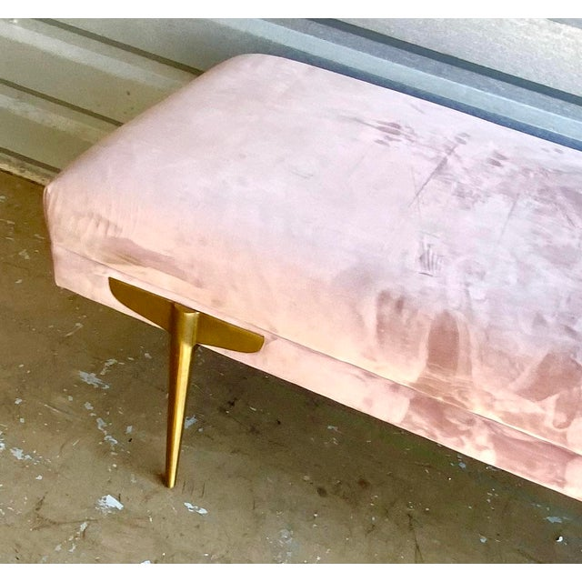 Textile Contemporary Lavender Velvet Bench For Sale - Image 7 of 9