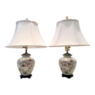 """20th Century Chinoiserie Ceramic Hand Painted """"Ginger Jar"""" Lamps - a Pair For Sale"""