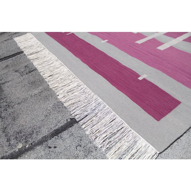 Violet Andrew Boos Handwoven Wool Rug For Sale - Image 8 of 13