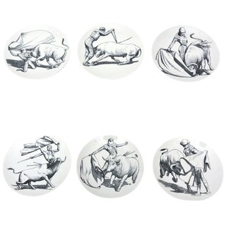 Vintage Italian Piero Fornasetti Porcelain Bullfight Dinner Plates - Set of 6 For Sale