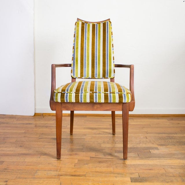 Mid-Century Modern Striped Upholstery Dining Chairs