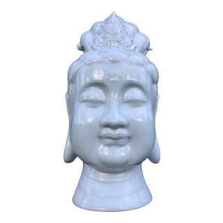 Monumental Quan Yin Bust in Powder Blue For Sale