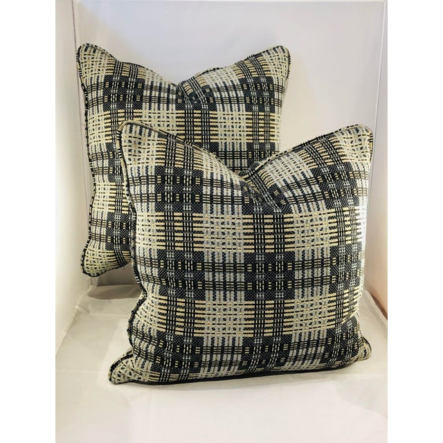 "Charcoal 16"" Square Highland Court Fabric Pillows - a Pair For Sale - Image 8 of 8"