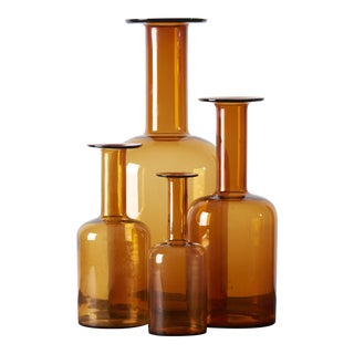 Set of Four Holmegaard Gulv Vases by Otto Brauer, in Amber For Sale