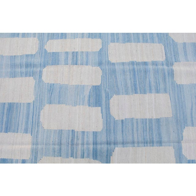 Contemporary Afghan Ivory & Blue Handmade Wool Flat-Weave - 8′5″ × 9′10″ For Sale - Image 3 of 4