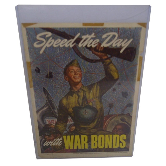 Vintage WWII War Bonds Poster For Sale