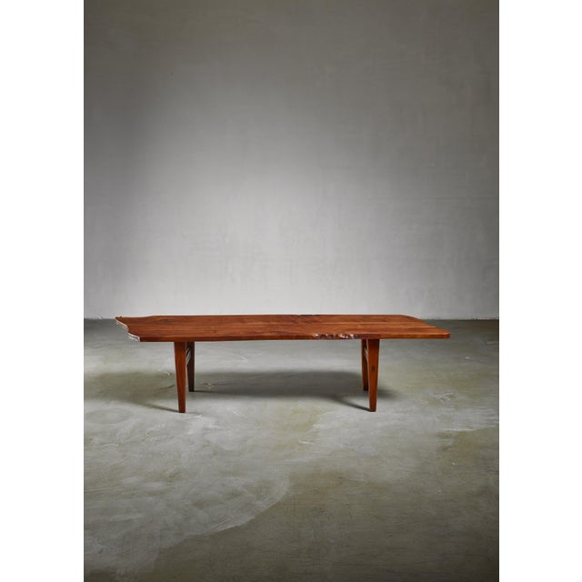 Mid-Century Modern Handcrafted Walnut Bench For Sale - Image 3 of 4